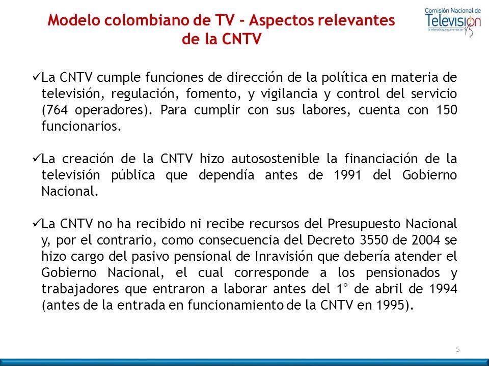 La CNTV cumple funciones de dirección de la política en materia de televisión, regulación, fomento, y vigilancia y control del servicio (764 operadore