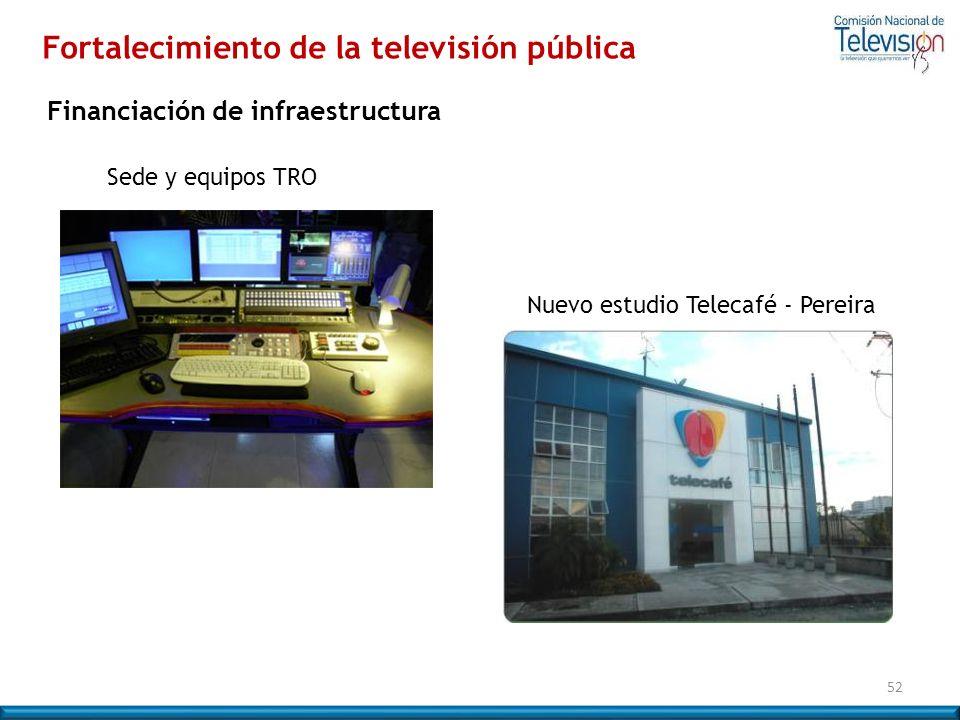 52 Nuevo estudio Telecafé - Pereira Sede y equipos TRO Financiación de infraestructura Fortalecimiento de la televisión pública