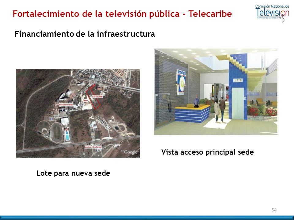 54 Lote para nueva sede Financiamiento de la infraestructura Vista acceso principal sede Fortalecimiento de la televisión pública - Telecaribe