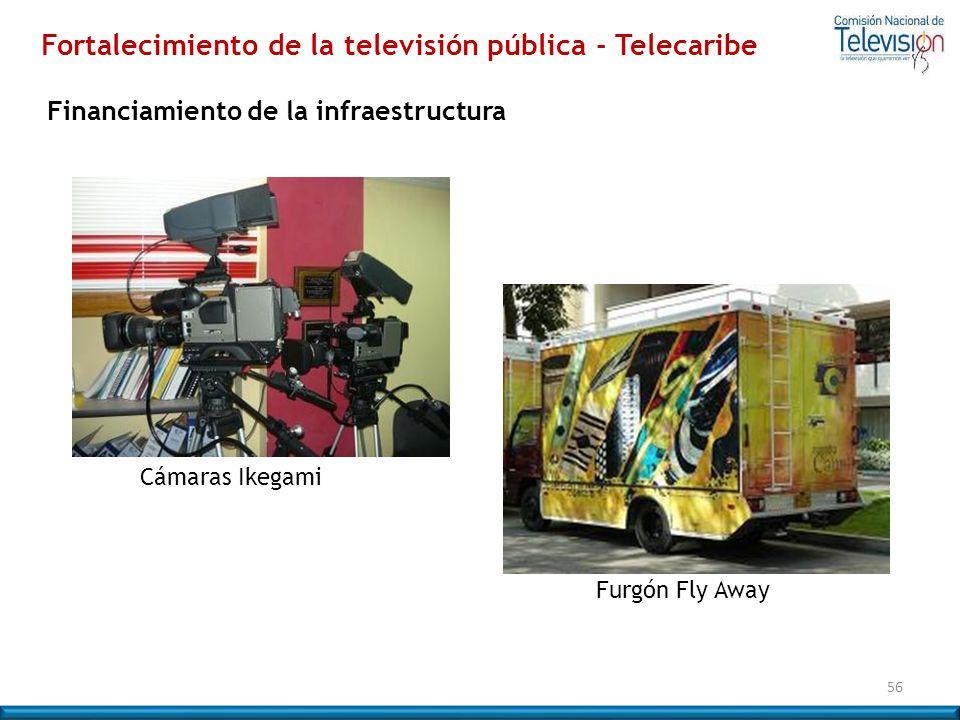 56 Cámaras Ikegami Furgón Fly Away Fortalecimiento de la televisión pública - Telecaribe Financiamiento de la infraestructura