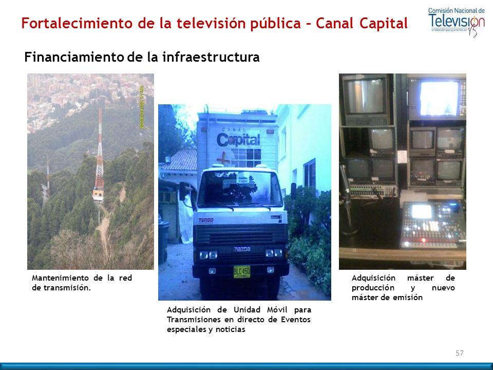 57 Fortalecimiento de la televisión pública – Canal Capital Mantenimiento de la red de transmisión. Adquisición de Unidad Móvil para Transmisiones en