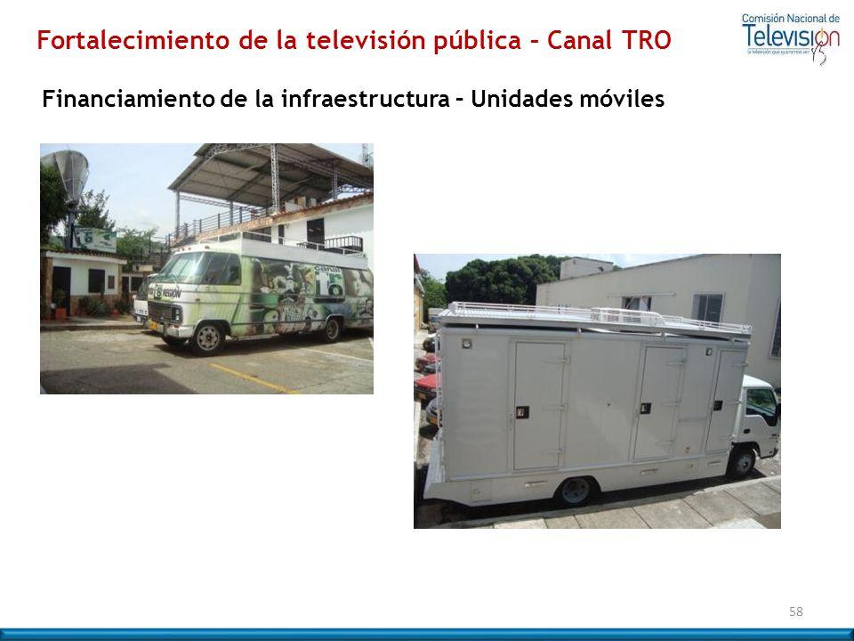 58 Fortalecimiento de la televisión pública – Canal TRO Financiamiento de la infraestructura – Unidades móviles