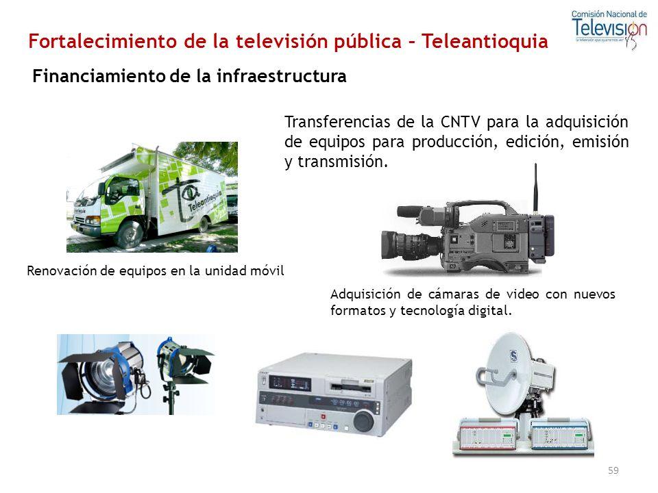 59 Transferencias de la CNTV para la adquisición de equipos para producción, edición, emisión y transmisión. Renovación de equipos en la unidad móvil