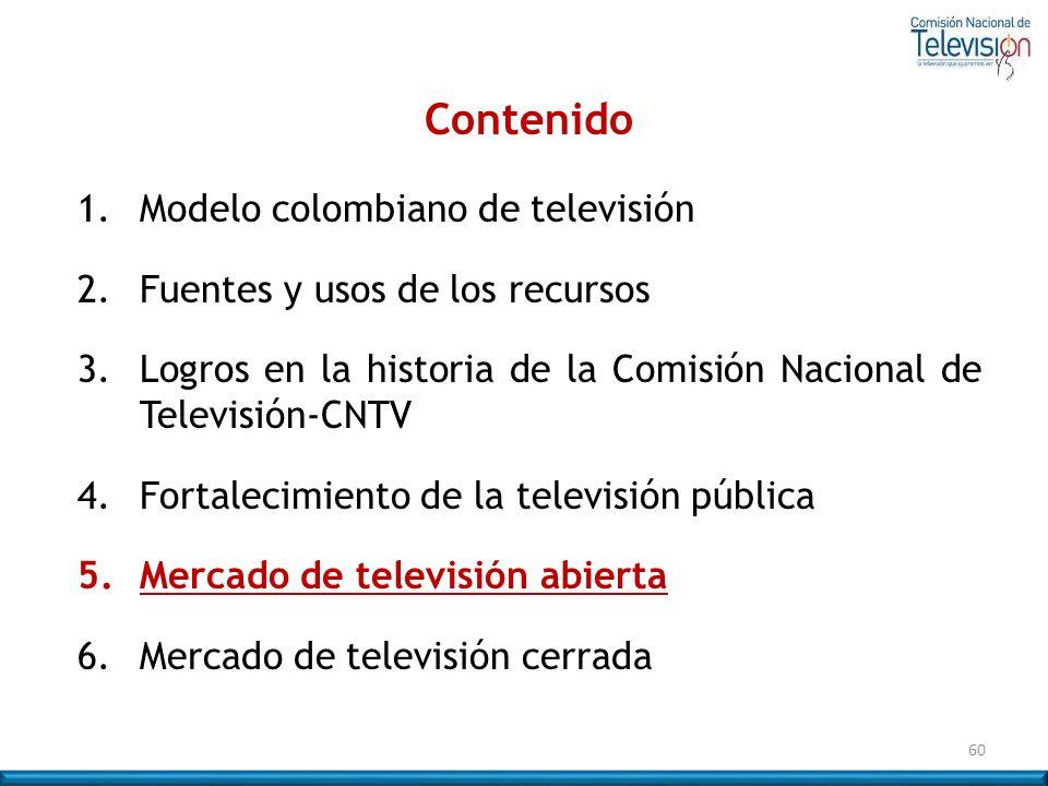 60 Contenido 1. Modelo colombiano de televisión 2. Fuentes y usos de los recursos 3.Logros en la historia de la Comisión Nacional de Televisión-CNTV 4