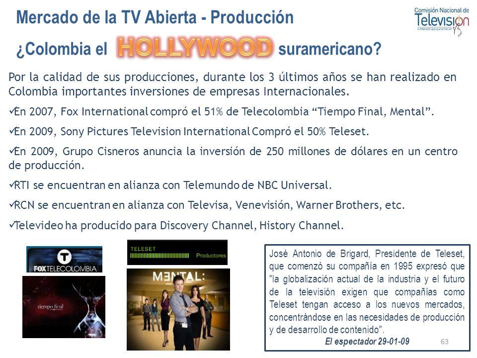 63 Mercado de la TV Abierta - Producción Por la calidad de sus producciones, durante los 3 últimos años se han realizado en Colombia importantes inver