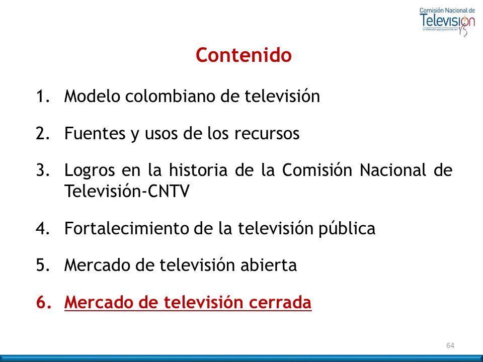 64 Contenido 1. Modelo colombiano de televisión 2. Fuentes y usos de los recursos 3.Logros en la historia de la Comisión Nacional de Televisión-CNTV 4