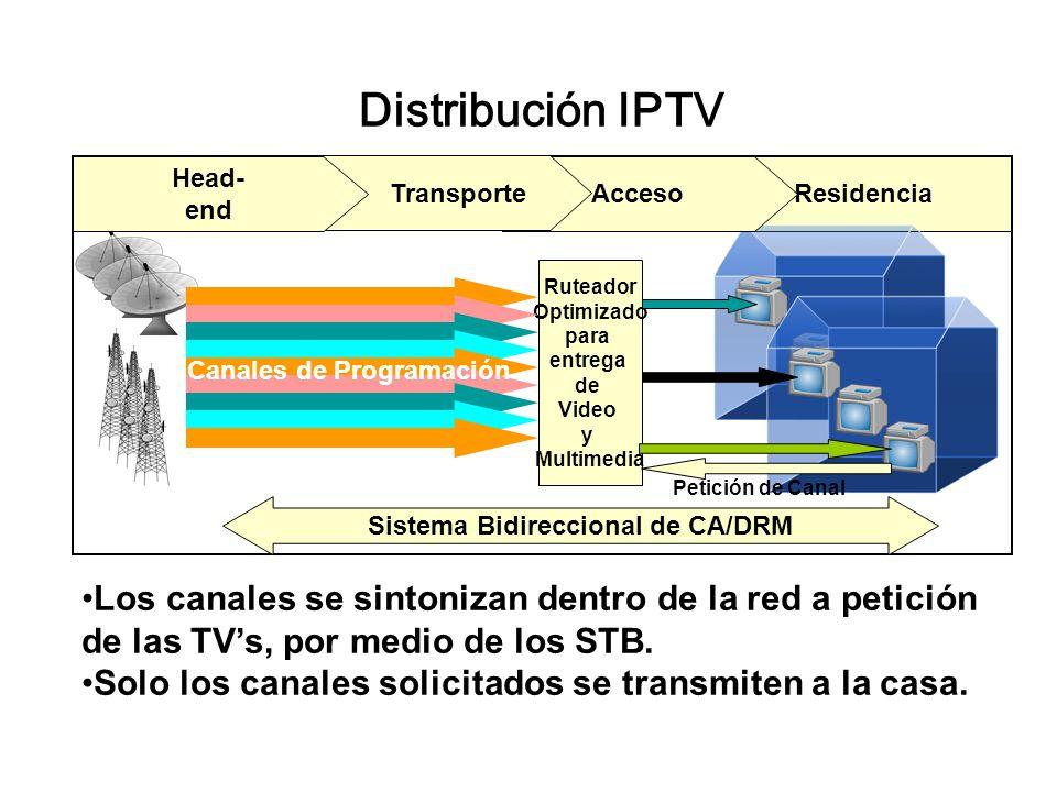 Residencia Distribución IPTV Acceso Transporte Head- end Ruteador Optimizado para entrega de Video y Multimedia Petición de Canal Sistema Bidireccional de CA/DRM Canales de Programación Los canales se sintonizan dentro de la red a petición de las TVs, por medio de los STB.