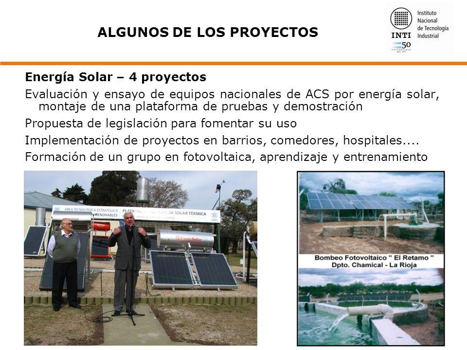 Energía Solar – 4 proyectos Evaluación y ensayo de equipos nacionales de ACS por energía solar, montaje de una plataforma de pruebas y demostración Pr