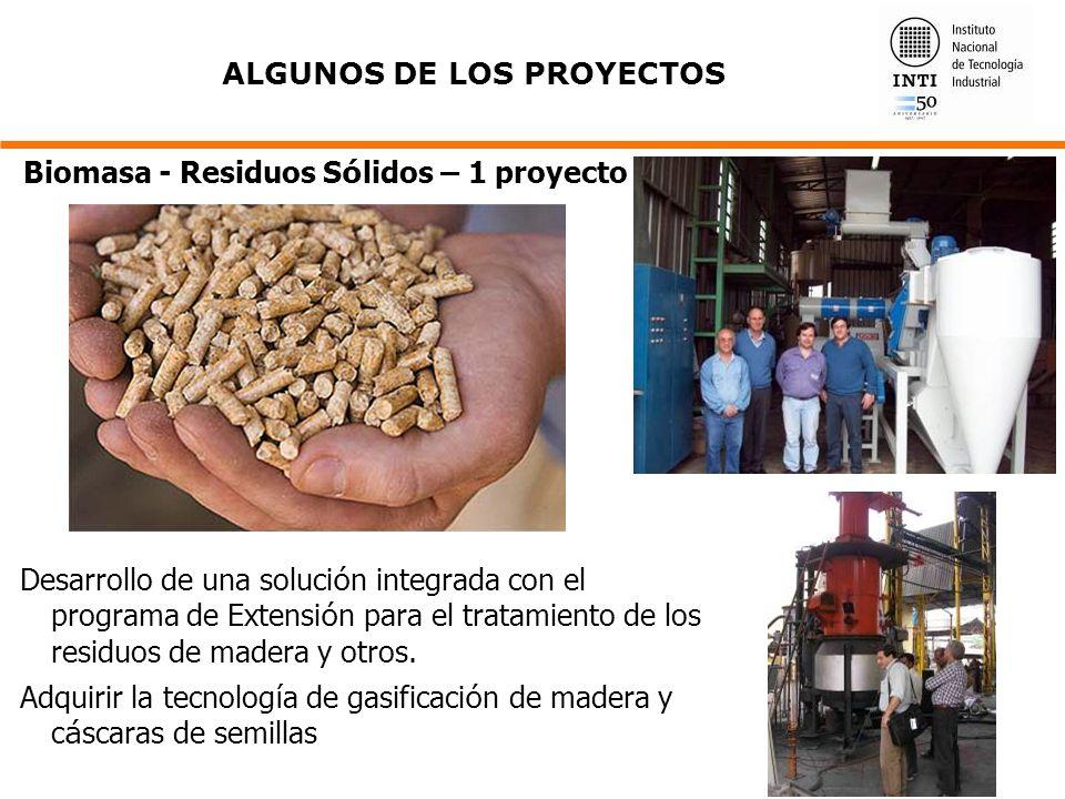 Desarrollo de una soluci ó n integrada con el programa de Extensi ó n para el tratamiento de los residuos de madera y otros. Adquirir la tecnolog í a