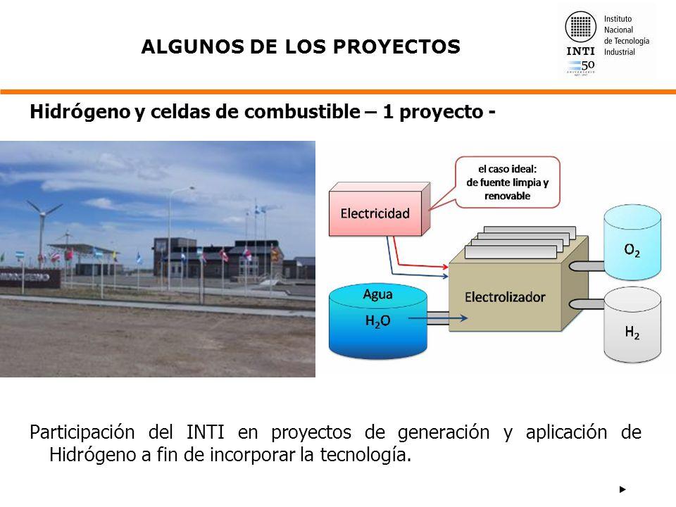 Participaci ó n del INTI en proyectos de generaci ó n y aplicaci ó n de Hidr ó geno a fin de incorporar la tecnolog í a. Hidr ó geno y celdas de combu