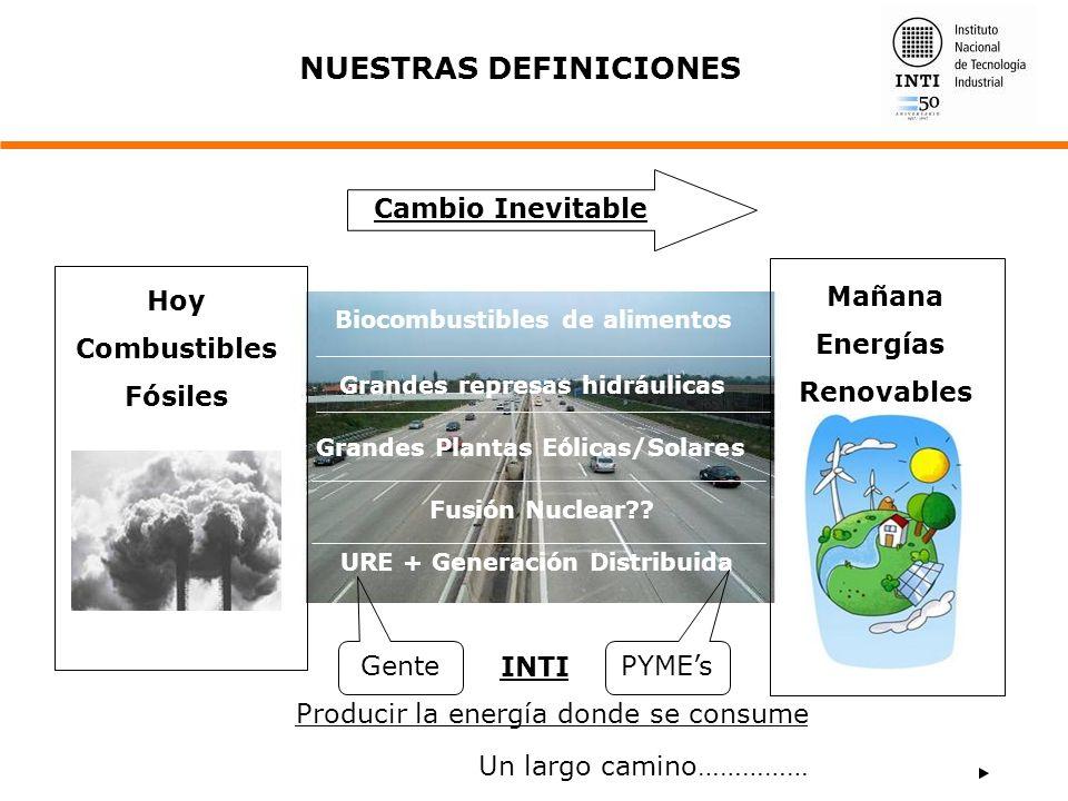 Cambio Inevitable NUESTRAS DEFINICIONES Grandes Plantas Eólicas/Solares Fusión Nuclear?? URE + Generación Distribuida Gente PYMEs INTI Producir la ene