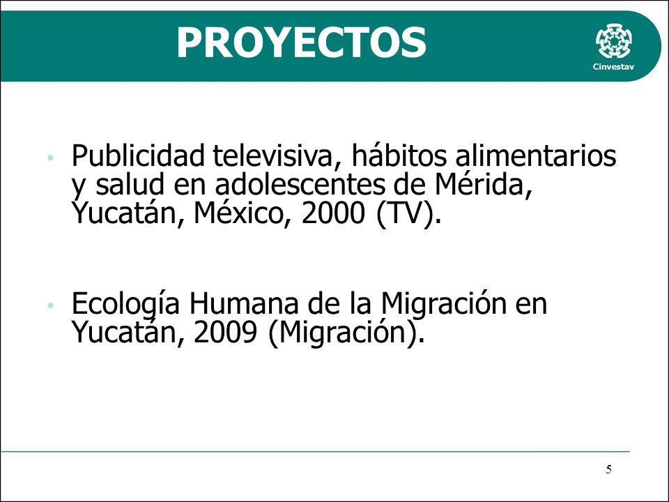 PROYECTOS Publicidad televisiva, hábitos alimentarios y salud en adolescentes de Mérida, Yucatán, México, 2000 (TV). Ecología Humana de la Migración e