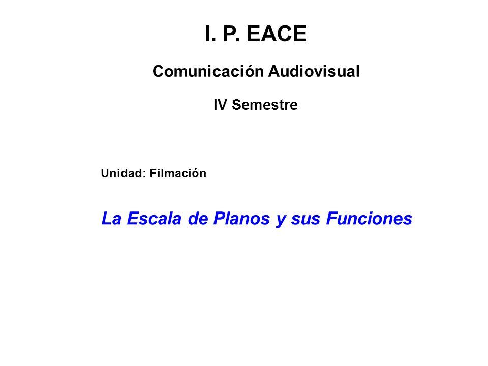 I. P. EACE Comunicación Audiovisual IV Semestre La Escala de Planos y sus Funciones Unidad: Filmación