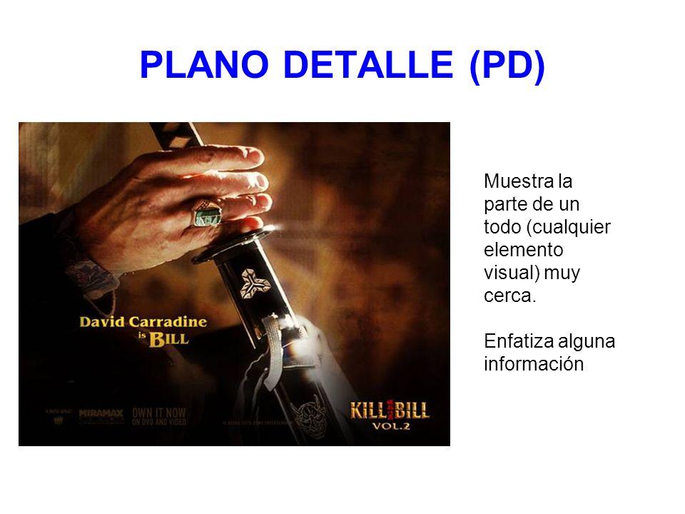 PLANO DETALLE (PD) Muestra la parte de un todo (cualquier elemento visual) muy cerca. Enfatiza alguna información