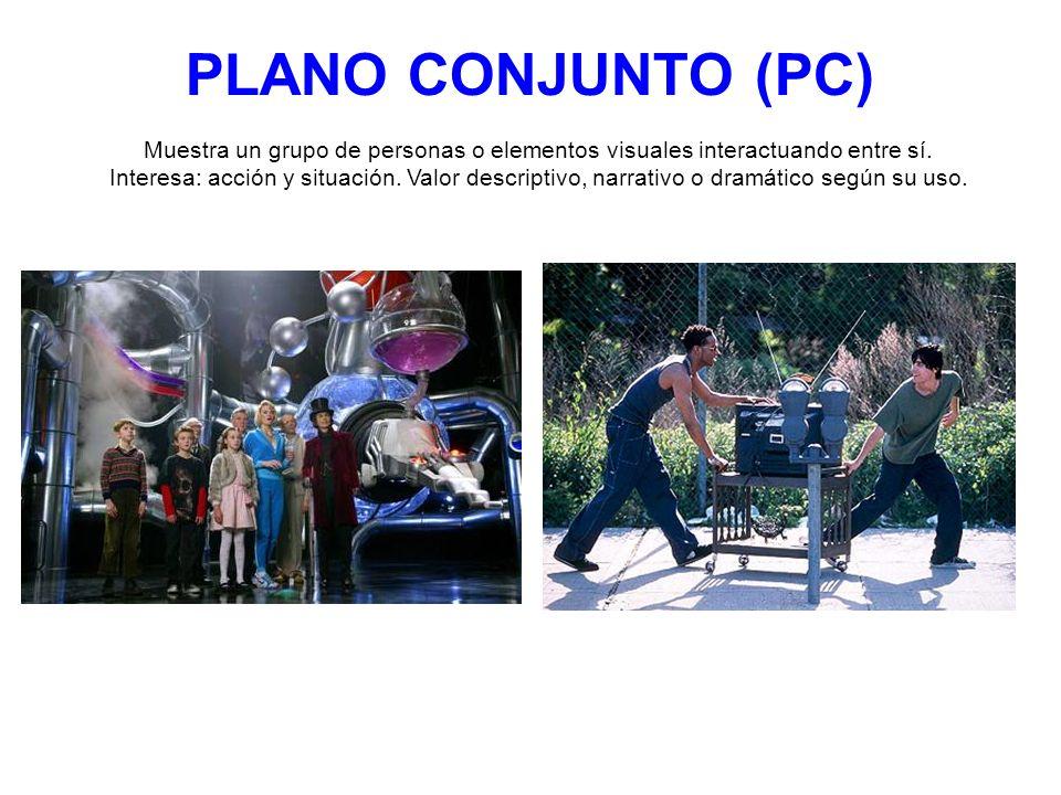 PLANO CONJUNTO (PC) Muestra un grupo de personas o elementos visuales interactuando entre sí. Interesa: acción y situación. Valor descriptivo, narrati