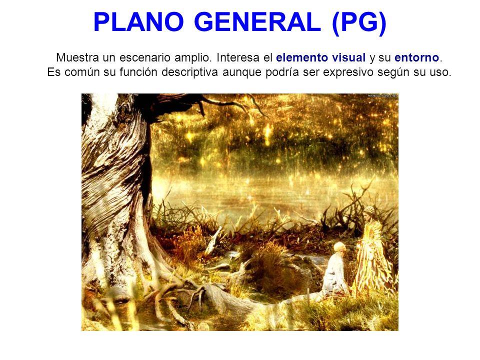 PLANO GENERAL (PG) Muestra un escenario amplio. Interesa el elemento visual y su entorno. Es común su función descriptiva aunque podría ser expresivo