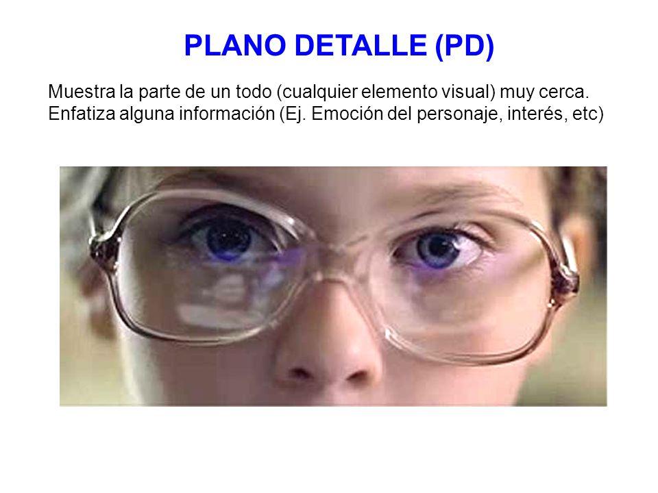 PLANO DETALLE (PD) Muestra la parte de un todo (cualquier elemento visual) muy cerca. Enfatiza alguna información (Ej. Emoción del personaje, interés,
