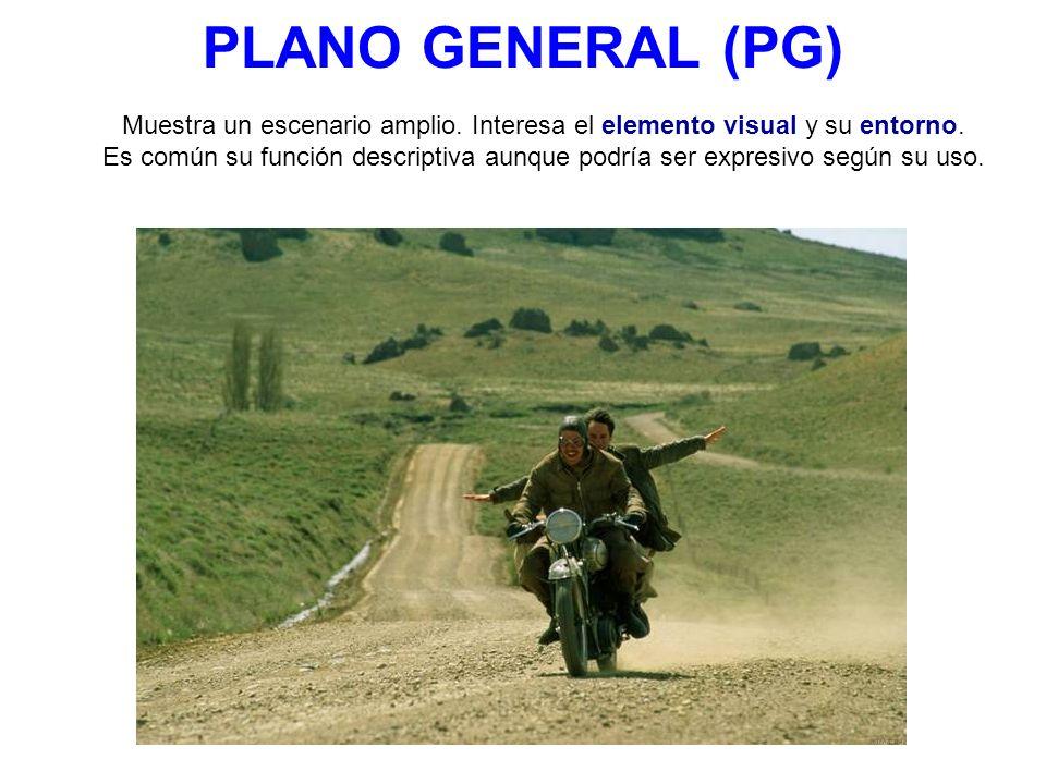 PLANO GENERAL (PG) Muestra un escenario amplio.Interesa el elemento visual y su entorno.