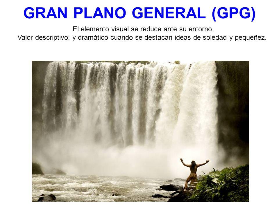 GRAN PLANO GENERAL (GPG) El elemento visual se reduce ante su entorno. Valor descriptivo; y dramático cuando se destacan ideas de soledad y pequeñez.
