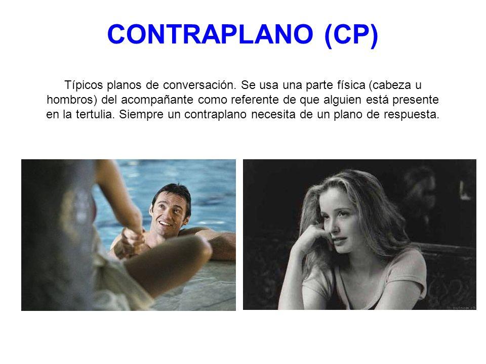 CONTRAPLANO (CP) Típicos planos de conversación. Se usa una parte física (cabeza u hombros) del acompañante como referente de que alguien está present