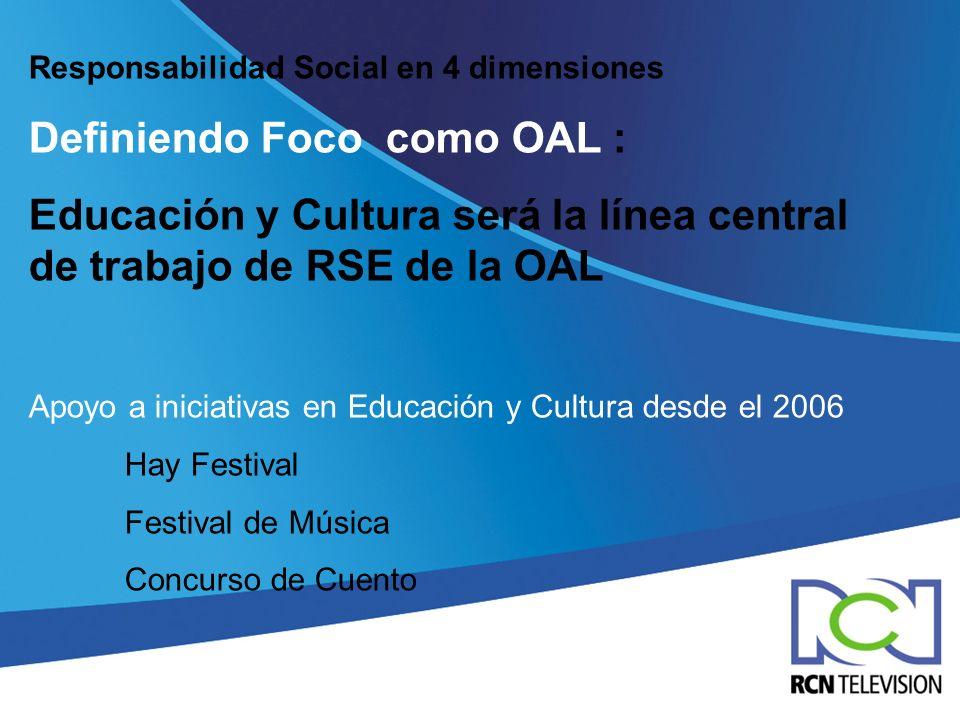 Responsabilidad Social en 4 dimensiones Definiendo Foco como OAL : Educación y Cultura será la línea central de trabajo de RSE de la OAL Apoyo a inici