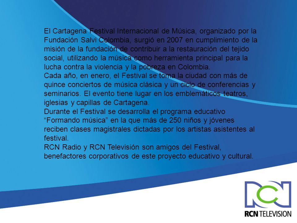 El Cartagena Festival Internacional de Música, organizado por la Fundación Salvi Colombia, surgió en 2007 en cumplimiento de la misión de la fundación
