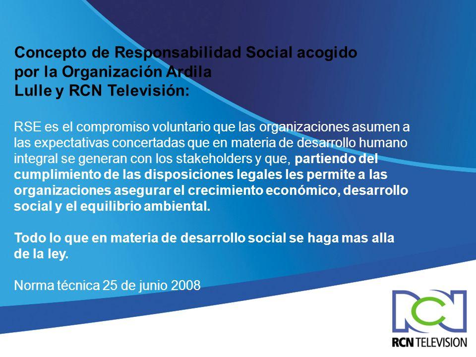 Concepto de Responsabilidad Social acogido por la Organización Ardila Lulle y RCN Televisión: RSE es el compromiso voluntario que las organizaciones a