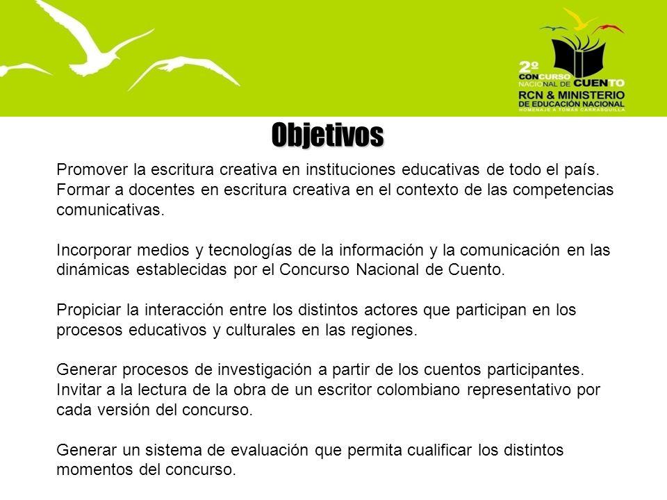 El Concurso en cifras 20072008 Homenaje a Gabriel García Márquez Homenaje a Tomás Carrasquilla 32.012 participantes28.548 participantes 804 municipios757 municipios 32 departamentos 320 evaluadores420 evaluadores