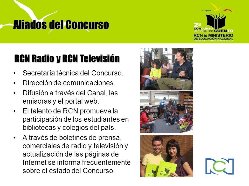 Secretaría técnica del Concurso. Dirección de comunicaciones. Difusión a través del Canal, las emisoras y el portal web. El talento de RCN promueve la