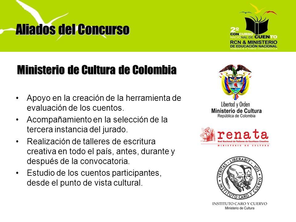 Aliados del Concurso Ministerio de Cultura de Colombia Aliados del Concurso Apoyo en la creación de la herramienta de evaluación de los cuentos. Acomp