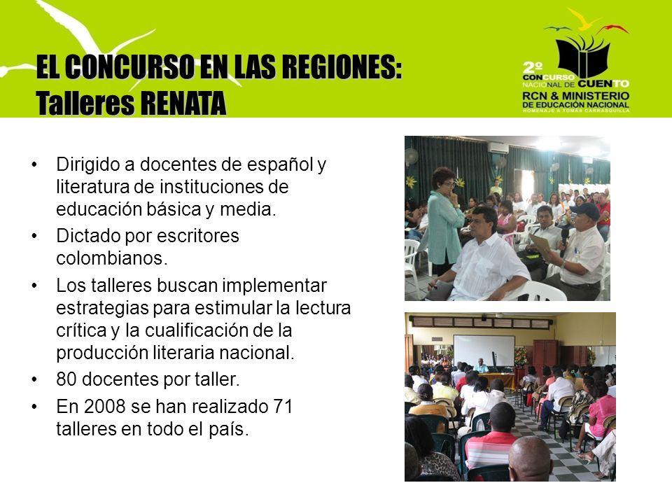 EL CONCURSO EN LAS REGIONES: Talleres RENATA Dirigido a docentes de español y literatura de instituciones de educación básica y media. Dictado por esc