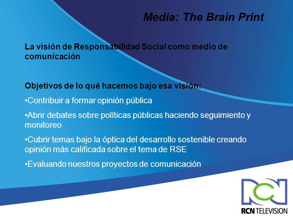 Media: The Brain Print La visión de Responsabilidad Social como medio de comunicación Objetivos de lo qué hacemos bajo esa visión: Contribuir a formar