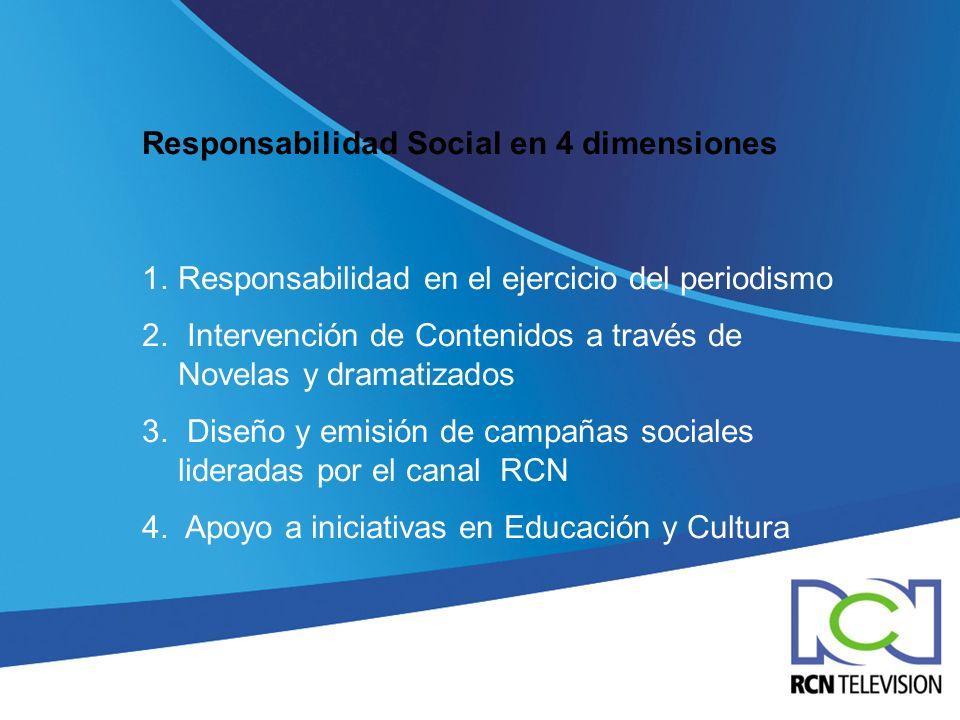 Responsabilidad Social en 4 dimensiones 1.Responsabilidad en el ejercicio del periodismo 2. Intervención de Contenidos a través de Novelas y dramatiza