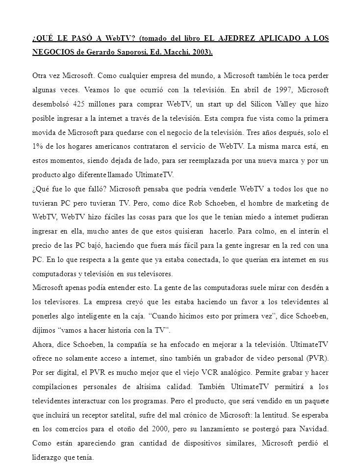 ¿QUÉ LE PASÓ A WebTV? (tomado del libro EL AJEDREZ APLICADO A LOS NEGOCIOS de Gerardo Saporosi, Ed. Macchi, 2003). Otra vez Microsoft. Como cualquier