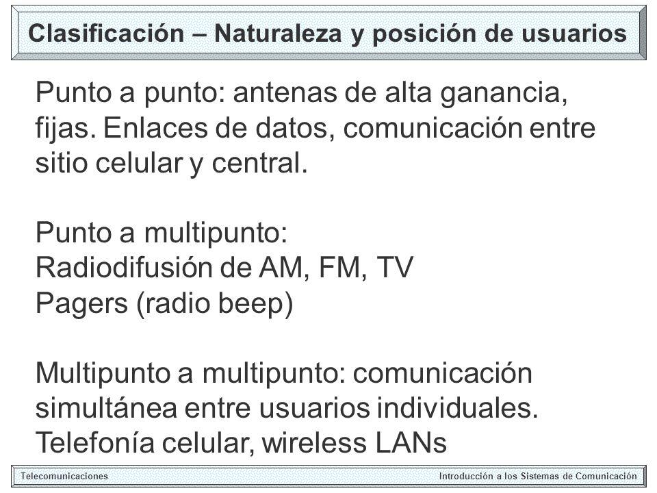 Clasificación – Naturaleza y posición de usuarios Telecomunicaciones Introducción a los Sistemas de Comunicación Punto a punto: antenas de alta ganancia, fijas.