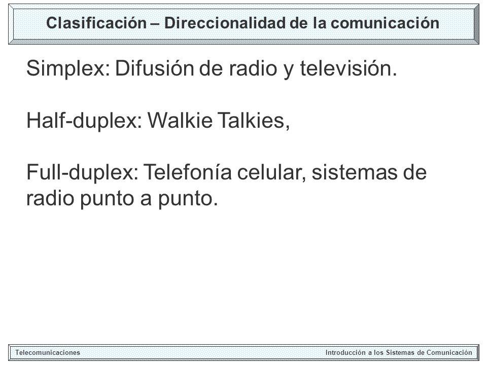 Fracuencias de Uso de Varios Sistemas Telecomunicaciones Introducción a los Sistemas de Comunicación Radio AM: 535-1605 KHz Radio CB: 27 MHz Radio FM: 88-108 MHz TV (VHF 2-6): 54-88 MHz TV (UHF 7-13): 174-216 Telefonía celular: 800-900 MHz Sistemas de Comunicación Personal (2G): 1.7-1.9 GHz GPS (Global Positioning Satellite): 1.575 GHz, 1.22 GHz DBS (Direct Broadcast Satellite): 11.7-12.5 GHz Wireless LANS, ISM (Industrial, Scientific and Mecial): 902-928 MHz, 2.4-2.48 GHz, 5.72-5.85 GHz.
