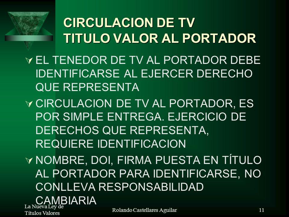 La Nueva Ley de Títulos Valores Rolando Castellares Aguilar10 REGLAS GENERALES SUSTITUIRSE POR MICROFORMAS O MEDIOS ELECTRÓNICOS 5 AÑOS 3. TV PAGADOS