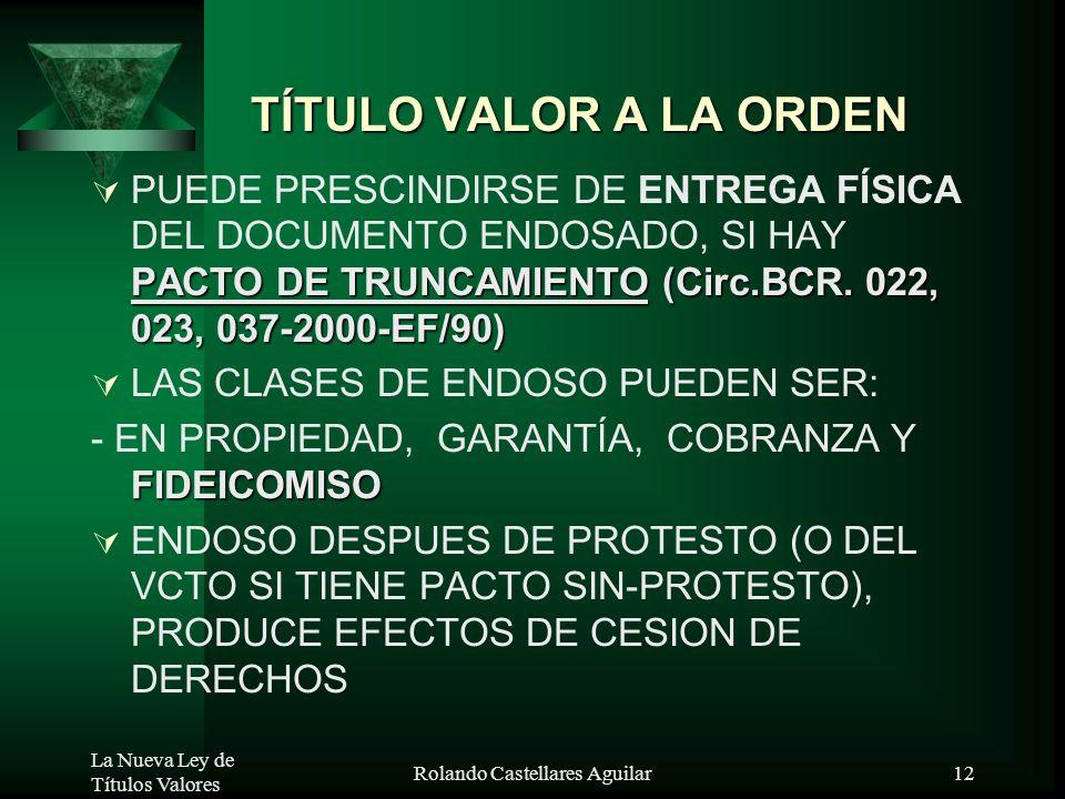 La Nueva Ley de Títulos Valores Rolando Castellares Aguilar11 CIRCULACION DE TV TITULO VALOR AL PORTADOR EL TENEDOR DE TV AL PORTADOR DEBE IDENTIFICAR