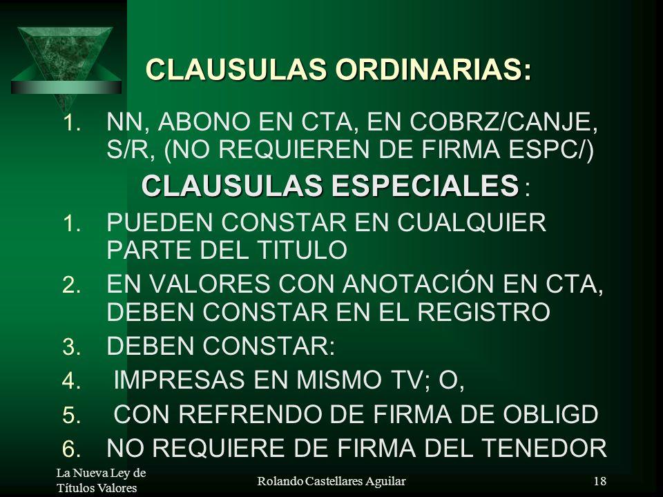 La Nueva Ley de Títulos Valores Rolando Castellares Aguilar17 Nulidad por Intereses Ilegales TV que representen préstamos con intereses usurarios o pr