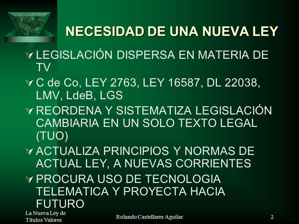 LA LEY DE TÍTULOS VALORES LEY No.27287 Vigencia desde: 17.Oct.00 PARTE GENERAL – REGLAS BASICAS Expositor: Dr. Rolando Castellares Aguilar