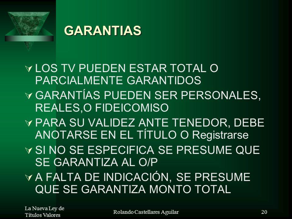 La Nueva Ley de Títulos Valores Rolando Castellares Aguilar19 CLAUSULAS ESPECIALES 1. CLÁUSULA DE PRÓRROGA 2.PAGO EN LA MISMA ME 3. INTERESES ANTES Y