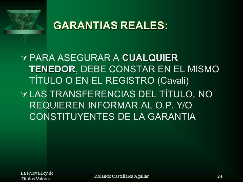 La Nueva Ley de Títulos Valores Rolando Castellares Aguilar23 FIANZA: FIANZA INCLUIDA EN TV SE CONSIDERA QUE ES SOLIDARIA Y S/BENEFICIO DE EXCUSION, S