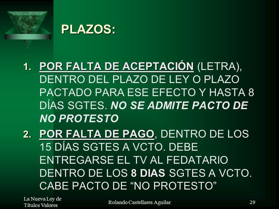 La Nueva Ley de Títulos Valores Rolando Castellares Aguilar28 PROTESTO: 3. ES FACULTATIVO LOGRAR EL PROTESTO CONTRA OBLIGADOS SOLIDARIOS Y GARANTES 4.