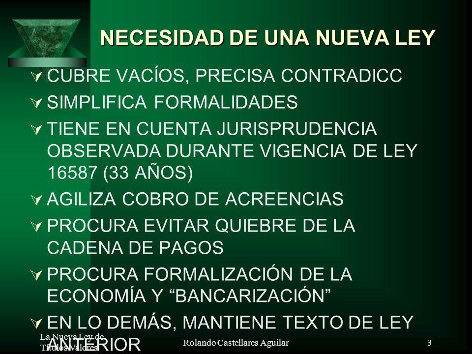 La Nueva Ley de Títulos Valores Rolando Castellares Aguilar3 NECESIDAD DE UNA NUEVA LEY CUBRE VACÍOS, PRECISA CONTRADICC SIMPLIFICA FORMALIDADES TIENE EN CUENTA JURISPRUDENCIA OBSERVADA DURANTE VIGENCIA DE LEY 16587 (33 AÑOS) AGILIZA COBRO DE ACREENCIAS PROCURA EVITAR QUIEBRE DE LA CADENA DE PAGOS PROCURA FORMALIZACIÓN DE LA ECONOMÍA Y BANCARIZACIÓN EN LO DEMÁS, MANTIENE TEXTO DE LEY ANTERIOR
