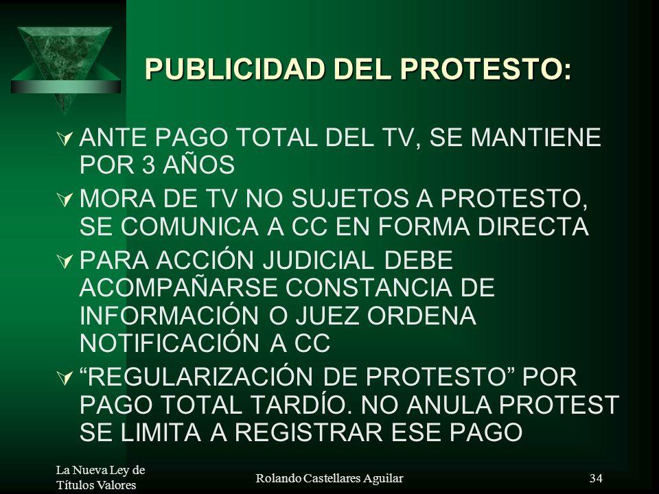 La Nueva Ley de Títulos Valores Rolando Castellares Aguilar33 PUBLICIDAD DEL PROTESTO: FEDATARIOS Y ESF COMUNICAN A LA CCPROVINCIAL MENSUALMENTE, PROT