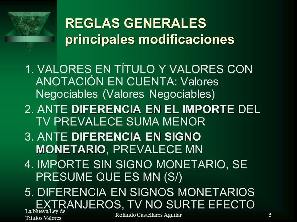 La Nueva Ley de Títulos Valores Rolando Castellares Aguilar4 NATURALEZA DE LOS TV BIENES: TANGIBLES E INTANGIBLE TANGIBLES : COSAS INTANGIBLES: DERECH