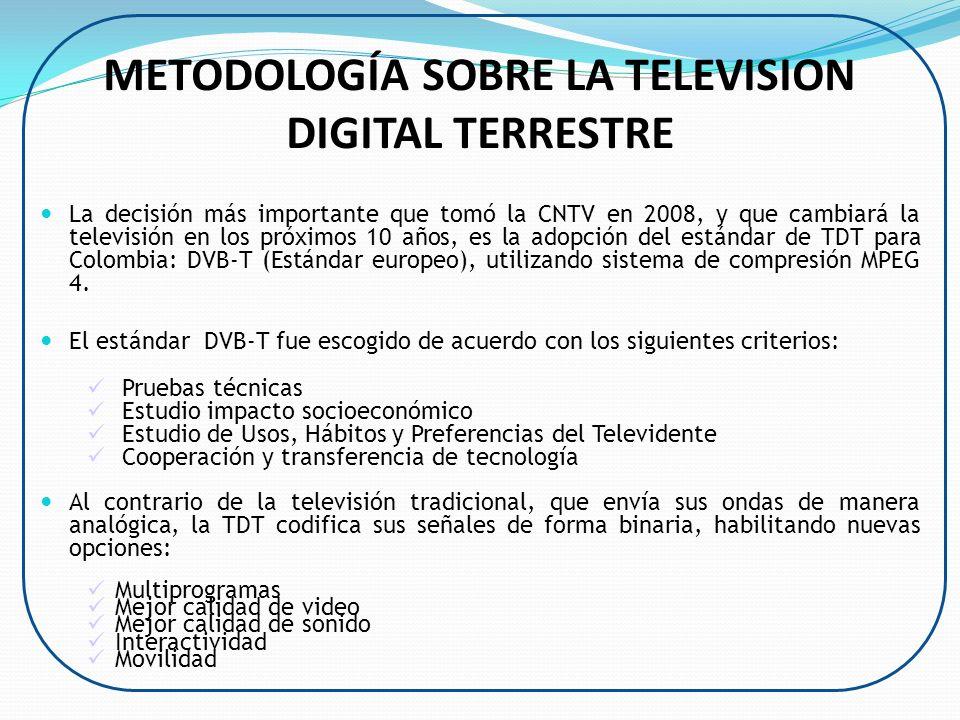 METODOLOGÍA SOBRE LA TELEVISION DIGITAL TERRESTRE La decisión más importante que tomó la CNTV en 2008, y que cambiará la televisión en los próximos 10
