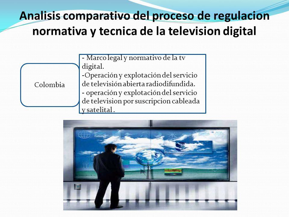 Analisis comparativo del proceso de regulacion normativa y tecnica de la television digital Colombia - Marco legal y normativo de la tv digital. -Oper