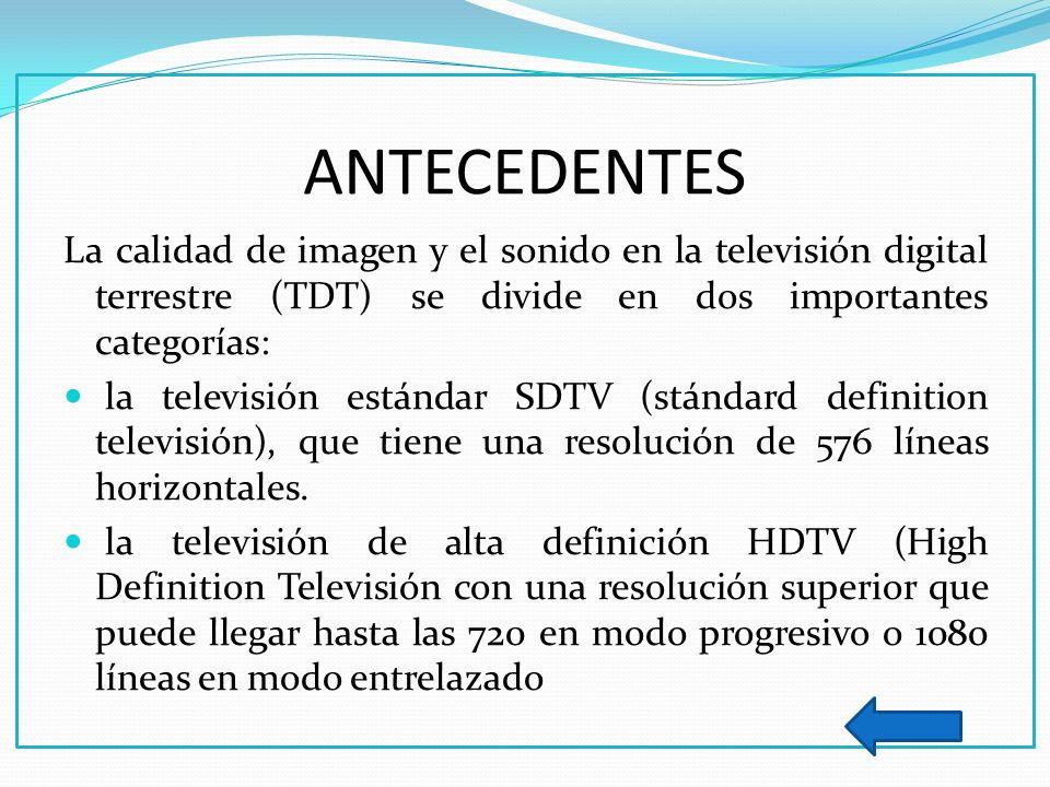 ANTECEDENTES La calidad de imagen y el sonido en la televisión digital terrestre (TDT) se divide en dos importantes categorías: la televisión estándar