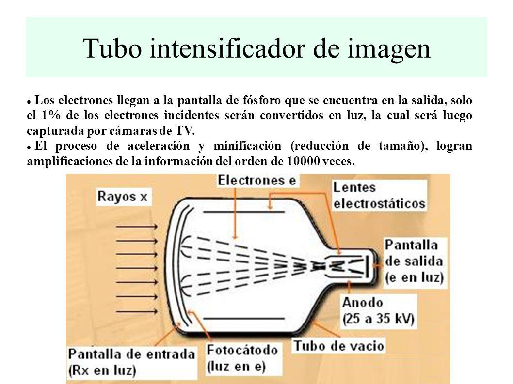Tubo intensificador de imagen Los rayos x incidentes atraviesan la cubierta protectora del intensificador (vidrio, aluminio, etc).